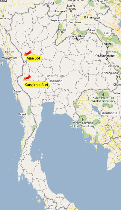 Map of the Thai/Myanmar Border